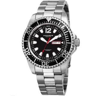 Akribos XXIV Men's Quartz Diver Style Date Stainless Steel Silver-Tone/Black Bracelet Watch