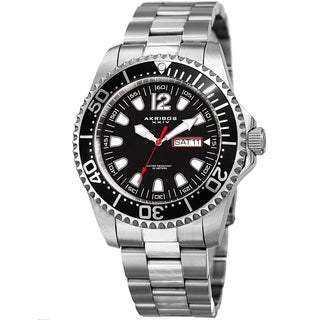Akribos XXIV Men's Quartz Diver Style Date Stainless Steel Silver-Tone/Black Bracelet Watch with Gift Box