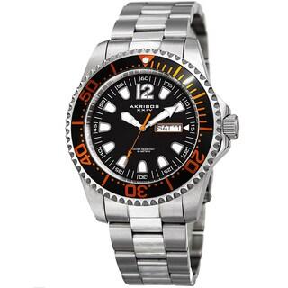 Akribos XXIV Men's Quartz Diver Style Date Stainless Steel Silver-Tone/Orange Bracelet Watch