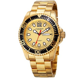 Akribos XXIV Men's Quartz Diver Style Date Watch with Stainless Steel Bracelet