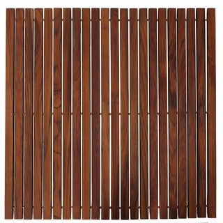 Bare Decor Fuji String Spa Shower Mat in Solid Teak Wood Oiled Finish XL Square 30-inch x 30-inch