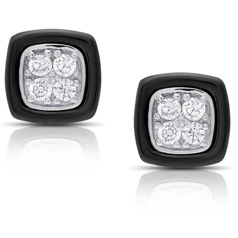 Samantha Stone Sterling Silver Cubic Zirconia Cushion-cut Ceramic Stud Earrings