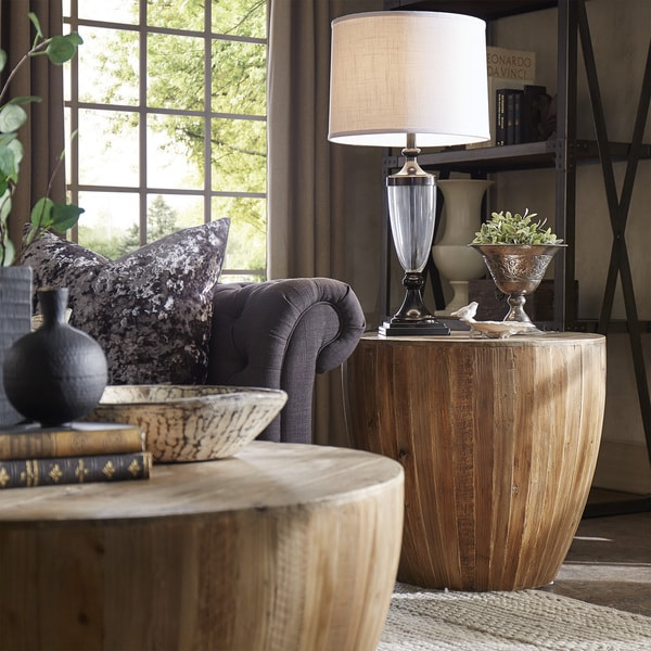 Hatteras Drum Reclaimed Woodblock Barrel Side Table By INSPIRE Q Artisan    Free Shipping Today   Overstock.com   18916769