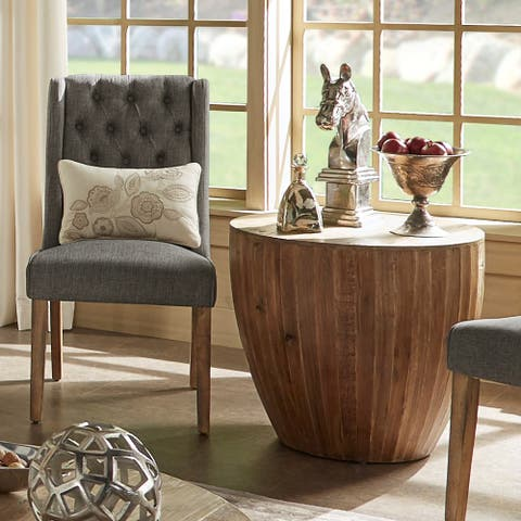 Hatteras Drum Reclaimed Woodblock Barrel Side Table by iNSPIRE Q Artisan