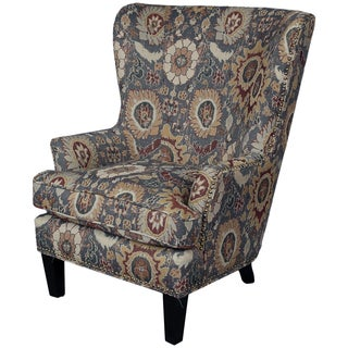 Porter Southern Accent Woven Ikat Wingback Chair with Nailhead Trim