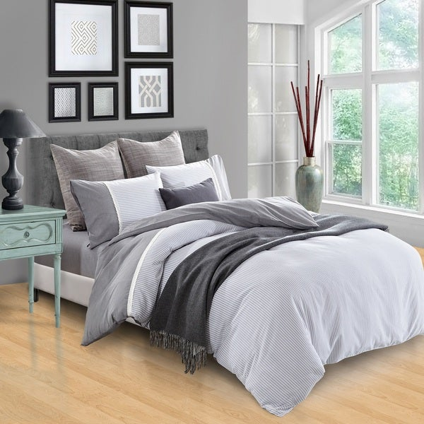 Miranda Haus Riverton 300 Thread Count Stripe Cotton Duvet Cover Set. Opens flyout.