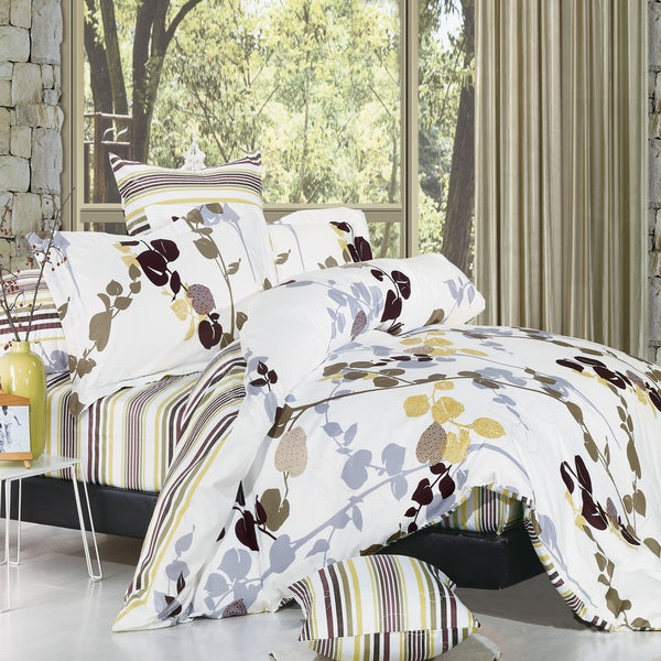 Floral Cotton 4-Piece Duvet Cover Set