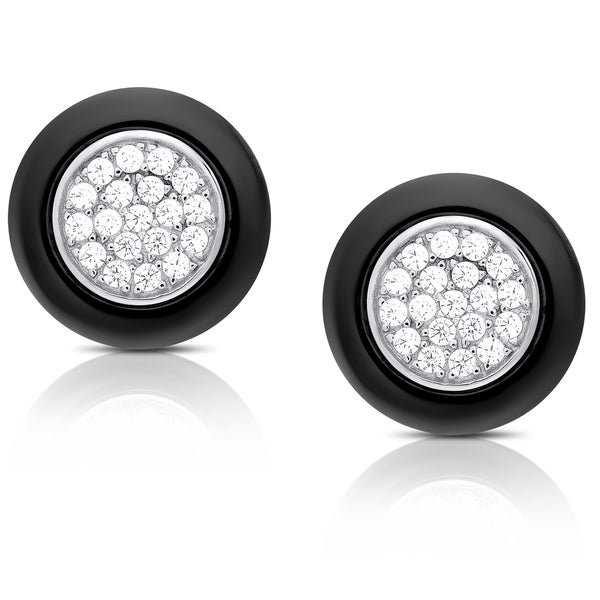 Samantha Stone Sterling Silver Cubic Zirconia Ceramic Round Stud Earrings