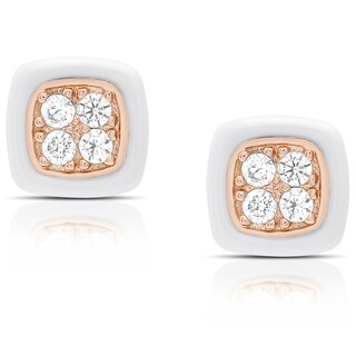 Samantha Stone Sterling Silver Cubic Zirconia Cushion-cut Ceramic Stud Earrings