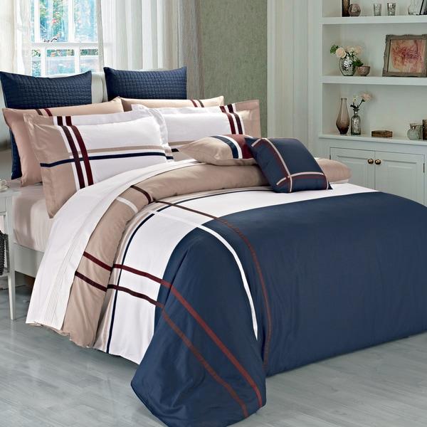 Wilson Beige Navy Plaid Cotton Duvet Cover Set