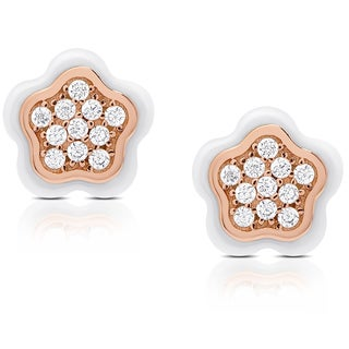Samantha Stone Sterling Silver Cubic Zirconia Ceramic Flower Earrings