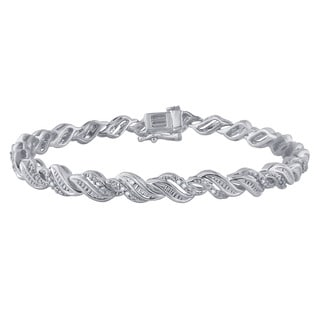 Divina White Silver Over Brass 1/4k TDW I-J I2-I3 Diamond Fashion Bracelet