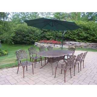 Explorer Cast Aluminum 10-piece Dining Set With 84-inch x 42-inch Oval Table, 8 Arm Chairs, and 10-foot Cantilever Umbrella