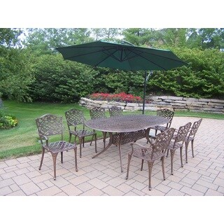 Dakota Cast Aluminum 10 Piece Dining Set, With Oval Table, 8 Arm Chairs