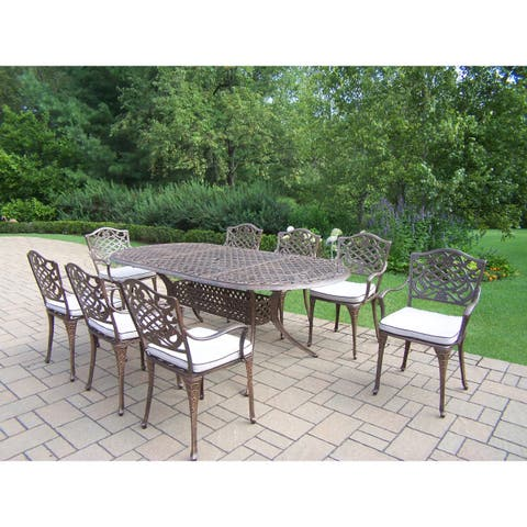 Dakota Cast Aluminum 84 x 42-inch 9-piece Outdoor Dining Set