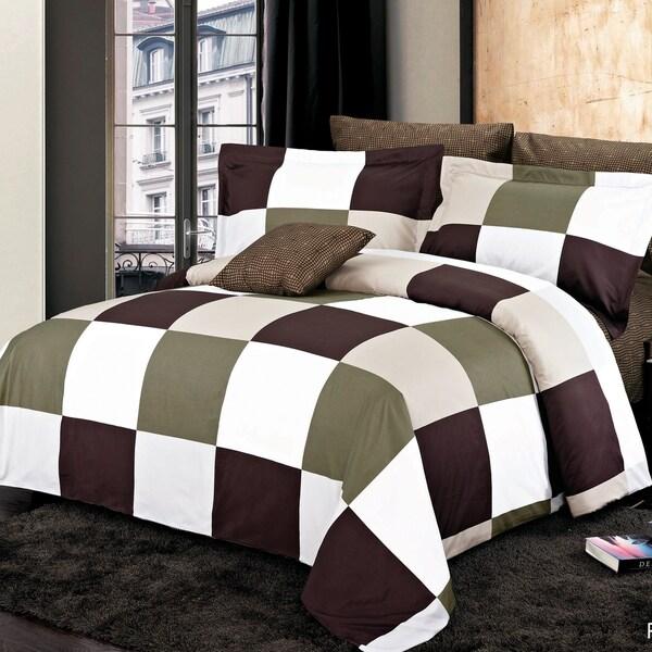 Park Brown Cotton 4 Piece Duvet Cover Set