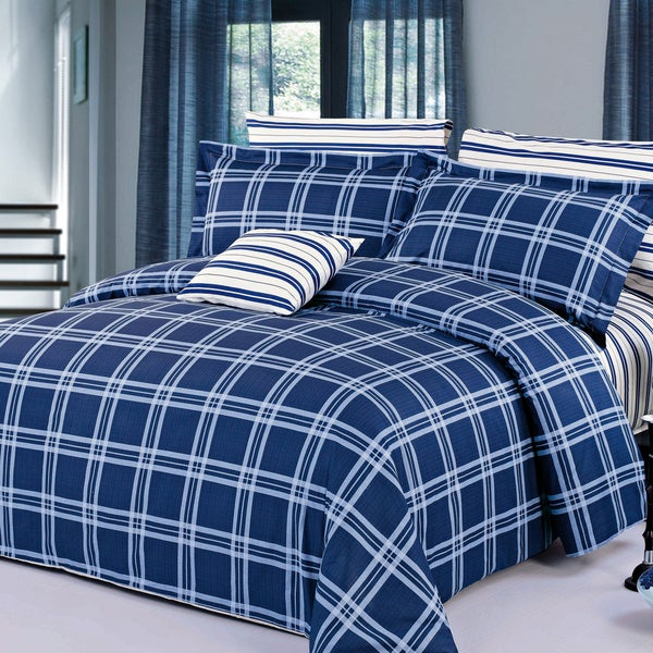 Steward Cotton 4-Piece Duvet Cover Set