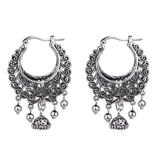 Boho Tribal Half Moon Hinged Hoop Earrings