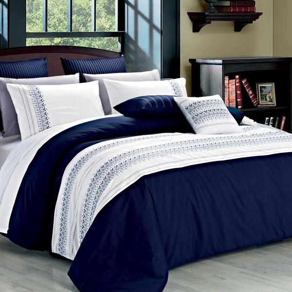 Clarice Embroidery Blue Cotton 3-Piece Reversible Duvet Cover Set