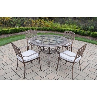 Dakota Cast Aluminum 5-piece Outdoor Dining Set, with Round Table, and 4 Cushioned Stackable Arm Chairs
