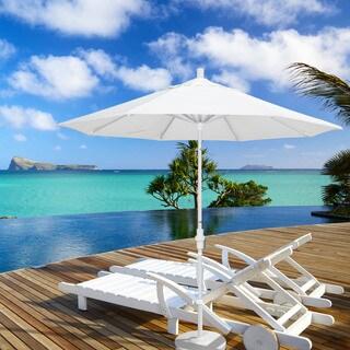 California Umbrella 9' Rd. Aluminum/Fiberglass Rib Market Umb, Deluxe Crank Lift/Collar Tilt, White Finish, Sunbrella Fabric