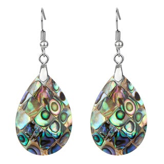 Pear Shaped Abalone Shell Dangle Drop Earring