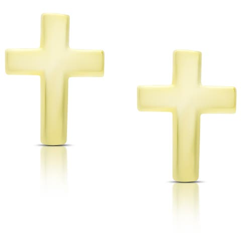 Molly and Emma Gold Over Sterling Silver Cross Earrings