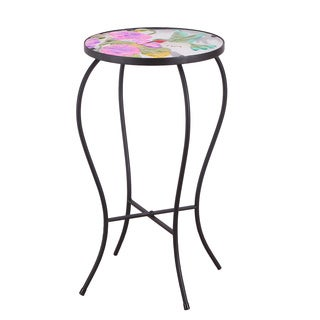 Adeco Chinese Style Glass Side Table With Morning Glory & Bird Pattern