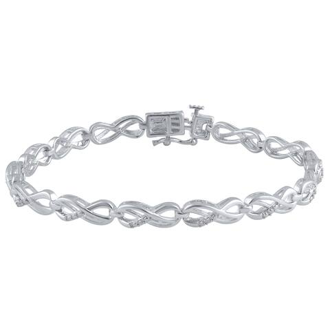 Divina Silver Brass Diamond Infinity Bracelet