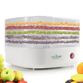 NutriChef PKFD06 White Plastic Electric Countertop Food Dehydrator/Preserver