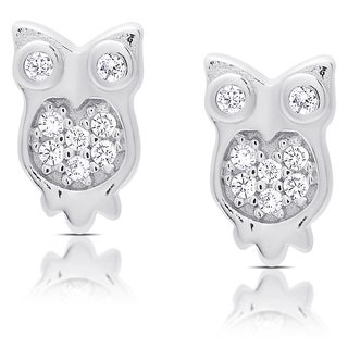 Molly and Emma Sterling Silver Cubic Zirconia Owl Stud Earrings