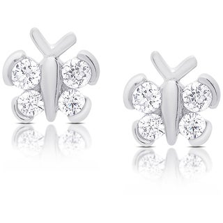 Molly and Emma Sterling Silver Cubic Zirconia Butterfly Stud Earrings