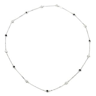 14k White Gold 5/8ct TDW Diamond and Sapphire Diamond by The Yard Station Necklace (G-H, I1-I2)