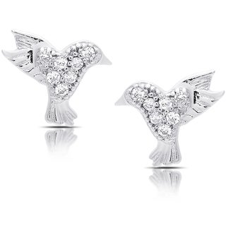 Molly and Emma Sterling Silver Cubic Zirconia Bird Stud Earrings