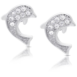 Molly and Emma Sterling Silver Cubic Zirconia Dolphin Stud Earrings