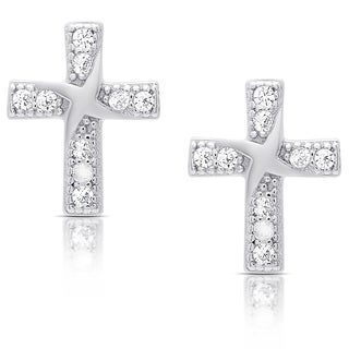 Molly and Emma Sterling Silver Cubic Zirconia Cross Stud Earrings