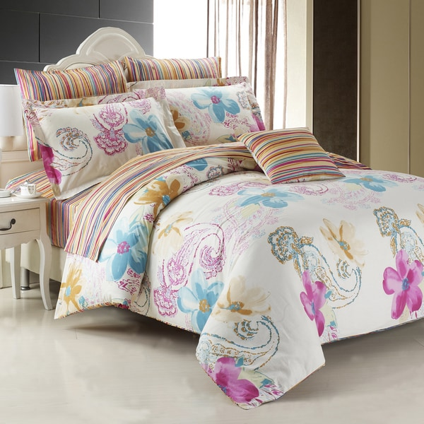 Mirage Floral Cotton 4 Piece Duvet Cover Set Free