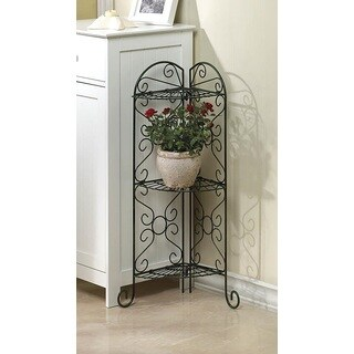 Scrolling Metal Corner Plant Stand