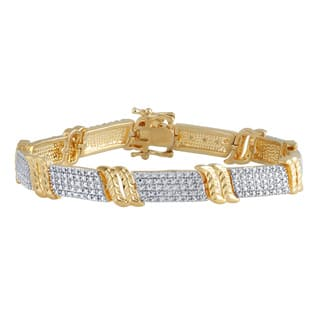 Divina 14k Yellow Gold and Brass Diamond Accent Fashion Bracelet|https://ak1.ostkcdn.com/images/products/12046265/P18916123.jpg?impolicy=medium