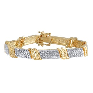 Divina 14k Yellow Gold and Brass Diamond Accent Fashion Bracelet