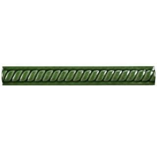 SomerTile 1x7.875-inch Trenzas Verde Moldura Pencil Ceramic Trim Tile (Pack of 12)