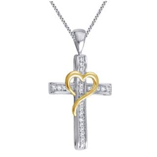 Divina Silver Overlay and Goldtone on Heart Diamond Accent Cross Pendant (I-J, I2-I3)|https://ak1.ostkcdn.com/images/products/12046269/P18916121.jpg?impolicy=medium