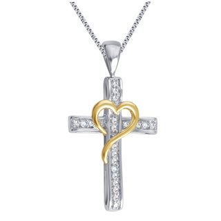 Divina Silver Overlay and Goldtone on Heart Diamond Accent Cross Pendant (I-J, I2-I3)