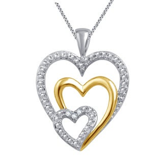 Divina Sterling Silver and 14k Gold over Brass Diamond Triple-Heart Pendant Necklace