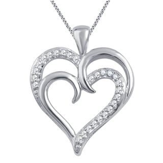 Divina White Silver Over Brass I-J I2-I3 Diamond Accent Fashion Heart Pendant