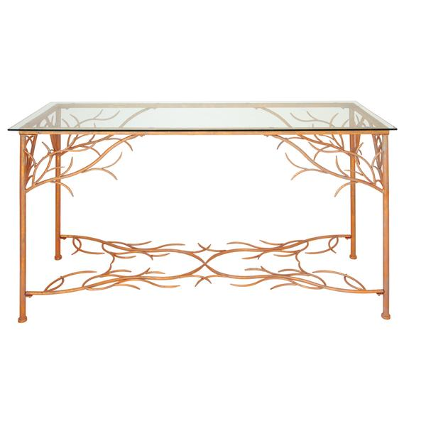 Sleek 54 inch wide x 32 inch high metal console table for 32 wide dining table