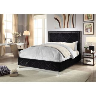 Meridian Hampton Black Velvet Bed