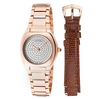 Croton Ladie's Czarina Rose-tone Stainless Steel Crystal Pave Watch