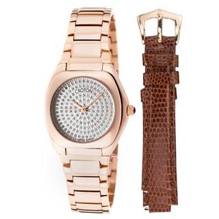 Croton Ladie's Czarina Rose-tone Stainless Steel Crystal Pave Watch