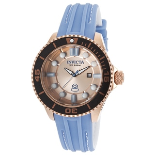 Invicta Women's Grand Diver 18k Rose Goldplated Stainless Steel Light Blue Strap Watch